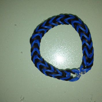 Fishtail Rainbow loom Black and Blue Bracelet Rainbow Loom Bracelet Rainbow Loom Accessories Lanyard Gifts for her Gifts for Him Zipp