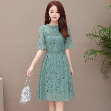 HCXX 19July 709 VALENTINO lace silk hollow Slim large size women's short-sleeved belly dress