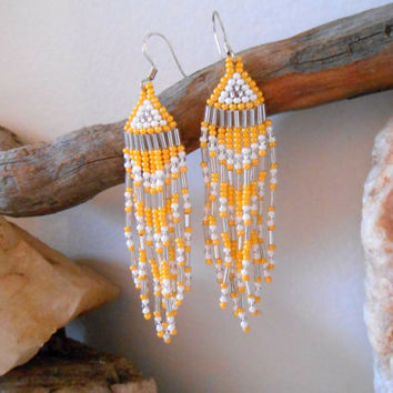 Hand Beaded Fringe Earrings, Brick Stitch, Yellow, White and Silver Seed Beads, Native American Inspired, Handmade, Powwow, Rendezvous