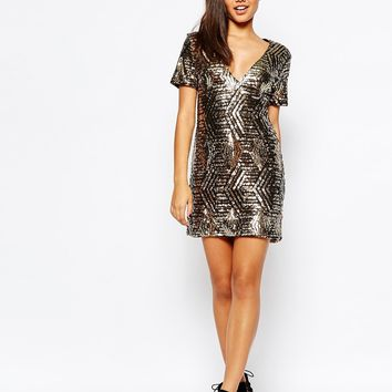 Missguided Sequin V-Neck Shift Dress at asos.com