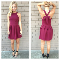 Burgundy Bow Cross Dress