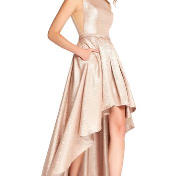 Alyce 60124 High-Low Jacquard Dress- Blush