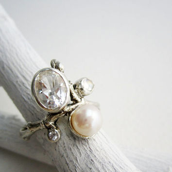 White Topaz Oval, Rainbow Moonstone, White Sapphire, White Pearl, Silver Twig Ring