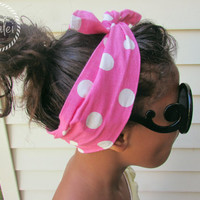 Pink and White Polka Dot Vintage Inspired Pin up Headband Children and Adults Sizes