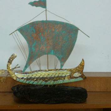 trireme/ ancient Greece/ ship/ metal work /Odysseas /metalic ship