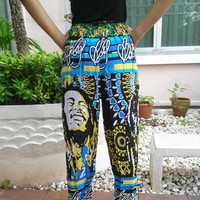 Blue Bob Marley Reggae Rasta Yoga Pants Harem Print Unisex African Jamaica Fisherman Native Hippie Massage pant Gypsy Thai Handmade Clothing