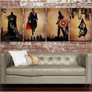 4 Panel Pictures Hand-painted Oil Painting On Canvas Retro Movie Star Batman Hulk Captain America Marvel Comics Heroes Posters