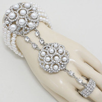 1920's Great Gatsby Inspired Big Silver Cream Pearl Hand Chain Bracelet, Ring Bracelet, Finger Bracelet, Hand Chain Jewelry