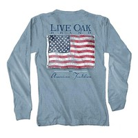 Vintage Flag USA Long Sleeve Tee in Ice Blue by Live Oak - FINAL SALE