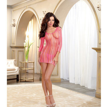 Striped Fishnet Long Sleeve Dress (thong Not Included) Neon Multicolor O-s