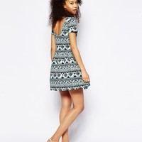 ASOS PETITE Skater Dress in Geo-Tribal Print - Print