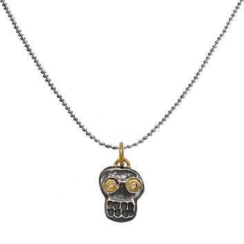 0.03ct Diamonds in 24K Gold & 925 Sterling Silver Skull Pendant Necklace