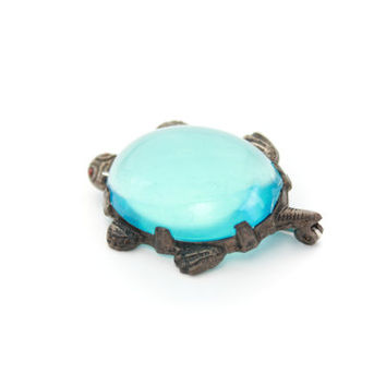 Antique Blue Glass Turtle Jelly Belly / B7