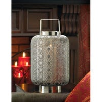 Polished Silver Lace Design Lamp