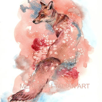 Fox Print fox watercolor painting Original 8x10 woodland theme nursery painting orange nursery forest theme childs room art office art