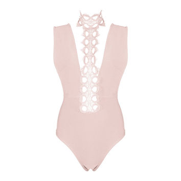Lovers Only Crochet Pink Bandage Bodysuit