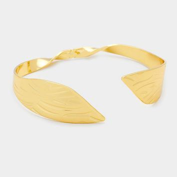Dramatic Gold Abstract Twisted Metal Cuff Bracelet