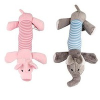2 Cute Pink Pig&Grey Elephant Dog Toys Plush hot sale free shipping