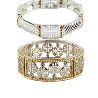 Canterbury Cross Bracelet Set - Silver + Gold