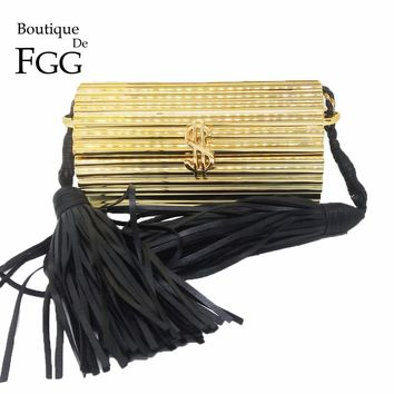 Black Tassel Dollar Hasp Hard Case Mini Women Gold Acrylic Evening Clutch Bag Party Prom Handbag Purse Crossbody Messenger Bag