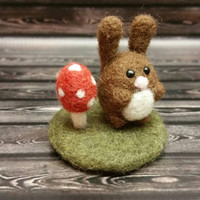 Popcorn Bunny and Mini Mushroom Landscape - Needle Felting Sculpture - Felted Pig - Soft Animal - Handmade Art