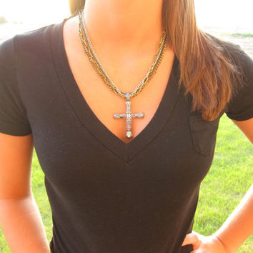Cross cowgirl necklace bling silver gold country by BlingBangBoom