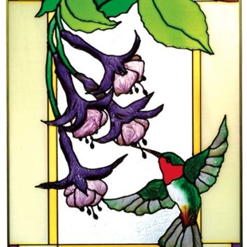 Hummingbird Fuchsia Flowers Vertical Stained Art Glass Panel