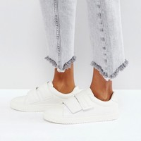 Pieces Leather Look Sneakers at asos.com