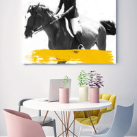 """Female Jockey 5-2. Large Horse, Unique Horse Wall Decor, White Black Yellow Horse Photography, Large Contemporary Canvas up to 48"""" by Orlov"""