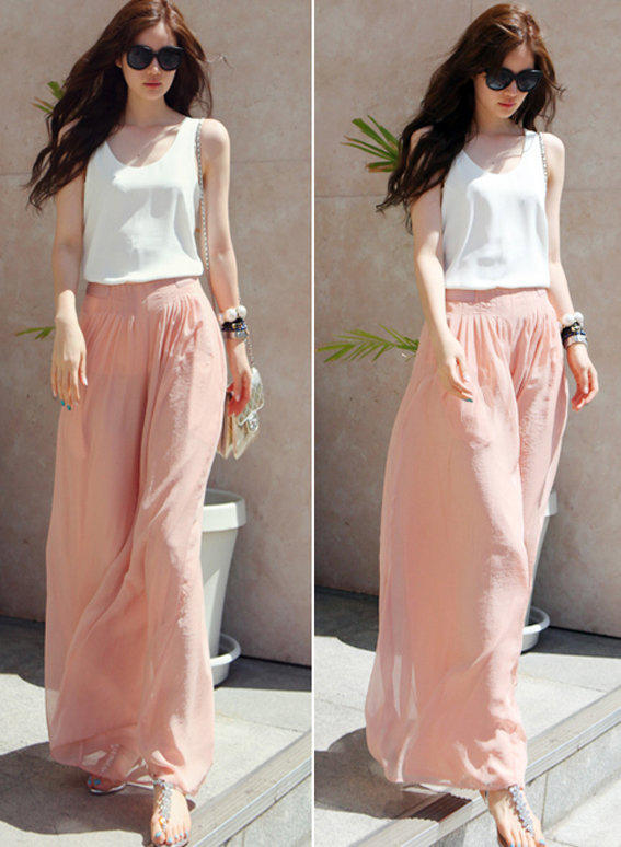 Pink Chiffon Loose Broadly Leg Pants