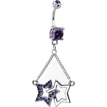 Dual Star Tanzanite Cubic Zirconia Dangle Chain Belly Ring