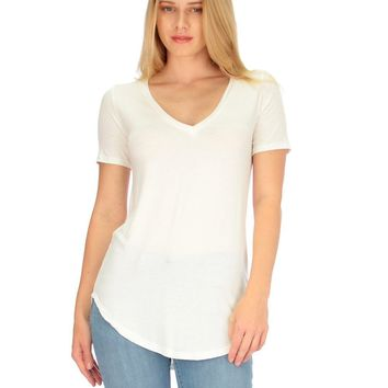 Lyss Loo Truly Madly Deep-V Neck Ivory Tunic Top
