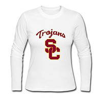 Lady Nerd Blank NCAA USC Trojans Logo Long Sleeve T-Shirt White US Size S