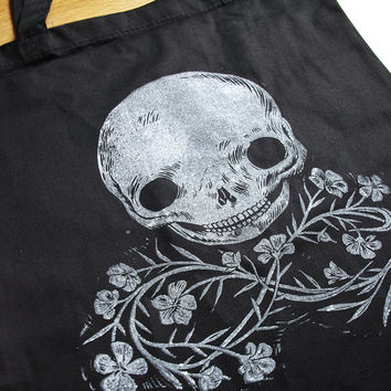 Black Skull and Wildflower tote - Black Bag with Bittersweet Stamp