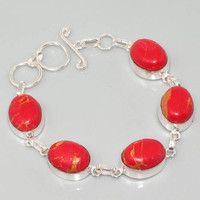 Bracelet refined red turquoise, Handmade, Nature stone, Red turquoise
