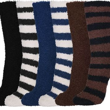 Basico Soft Warm Microfiber Fuzzy Winter Crew Socks 6 Pairs (10-13, Stripe)