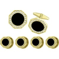 Tuxedo Stud and cufflink Set Gold tone Octagonal Cufflink with Round Onyx center