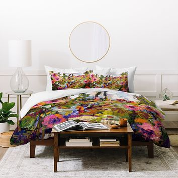 Ginette Fine Art Garden Path Hollyhock Duvet Cover