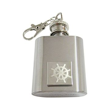 Silver Toned Etched Nautical Helm 1 Oz. Stainless Steel Key Chain Flask
