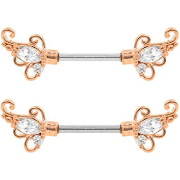 Pair of Rose Gold Clear cz Filigree Swirl Butterfly Wings Nipple barbell Surgical Steel ring rings 14g 12g 10g 8g