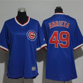 Women's Chicago Cubs #49 Jake Arrieta Cooperstown Cool Base Player Jersey