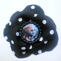 Psychobilly Hair Flower- Beetlejuice and Polka Dots