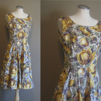 vintage 50s Dress  / Floral Day Dress   /  Mad Men Style / Golden Flower Print