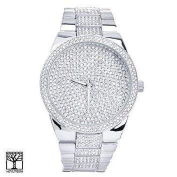 Jewelry Kay style Men's Bling Bling Silver Plated Metal Band Iced Out Watches 1559 S