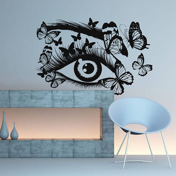 Eyelashes Eye Wall Decal, Butterflies Eye Wall Sticker, Girls Eyes Eyebrows Wall Decor, Beauty Salon Decor, Make Up Room Wall Decor,  se113
