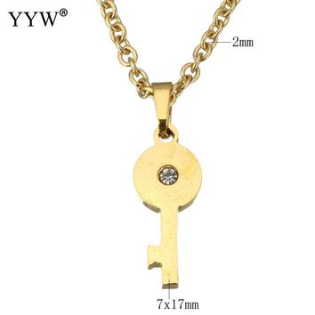 YYW Women New Gold-color Lovely Small Cute Key Charm Dangle Chain Choker Necklace Rhinestone Stainless Steel Jewelry Necklace