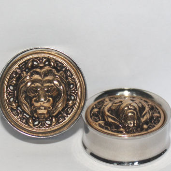 "Gold Lion Head Plugs 1/2"" 3/4"" 7/8"" 1"" 12mm 19mm 22mm 25mm"