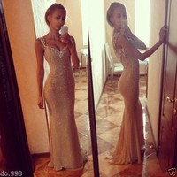 Mermaid Evening Dresses Beaded Open Back Sexy V-Neck Formal Prom Party Gowns