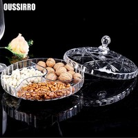 Dried Fruit Plate, Compartment with Lid, High-Grade Nut Box, Transparent Creative Living Room, Snack, Dried Fruit
