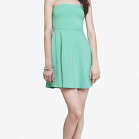 TURQUOISE STRAPLESS SKATER DRESS from EXPRESS